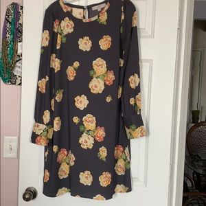 Grey and Yellow Floral Loft Dress